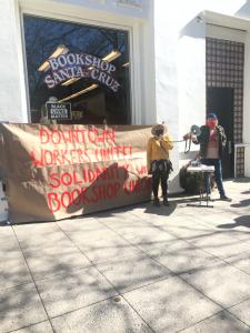 Bookshop Santa Cruz workers protesting