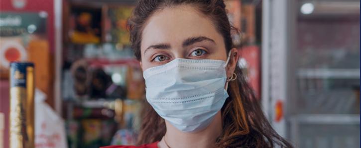 Worker wearing a mask