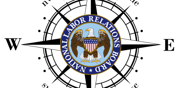 Illustration of the NLRB logo and a compass