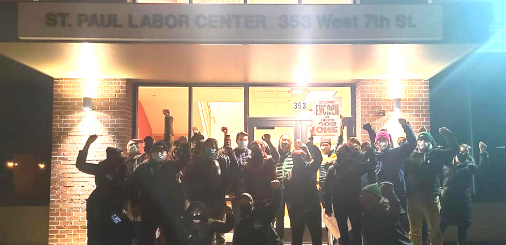 Labor organizers outside of the St. Paul Labor Center