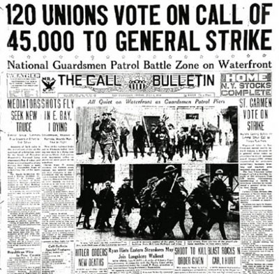 """newspaper headline that reads """"120 unions vote on call of 45,000 to general strike"""" from 1934"""